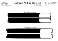 Decor interiéru Daewoo Nubira SE/SX 4dv. -- od roku výroby 7/2003- umístění dveřní lišty - 4 díly