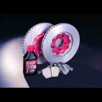 """GALFER sada předních brzdových kotoučů a desek """"kit EXTREME"""" DAEWOO ESPERO 1.8i -- rok výroby 95-97 / brzdový systém ATE, průměr kotouče 256mm, počet otvorů na šrouby 6 ( tato sada obsahuje sadu předních desek FDR1065, pár drážkovaných plovoucích předních kotoučů DFX, brzdovou kapalinu Racing a carbonové protihlukové shimy )"""